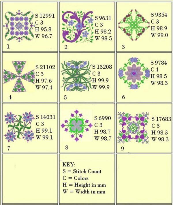 Design Info, Anemone #3 4x4 hoop