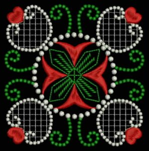 Example of Candlewick & Satin 1 Heirloom Quilt Blocks-in Christmas colors