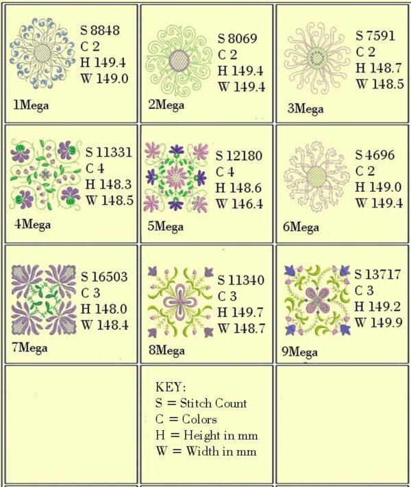 Anemone #1 Design Info for 6x6 designs