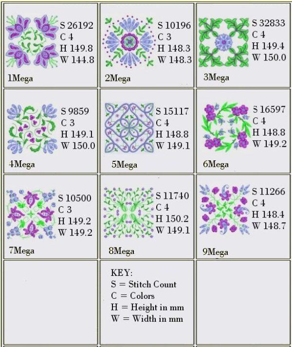 Anemone #2 Designs for 6x6 Design Info