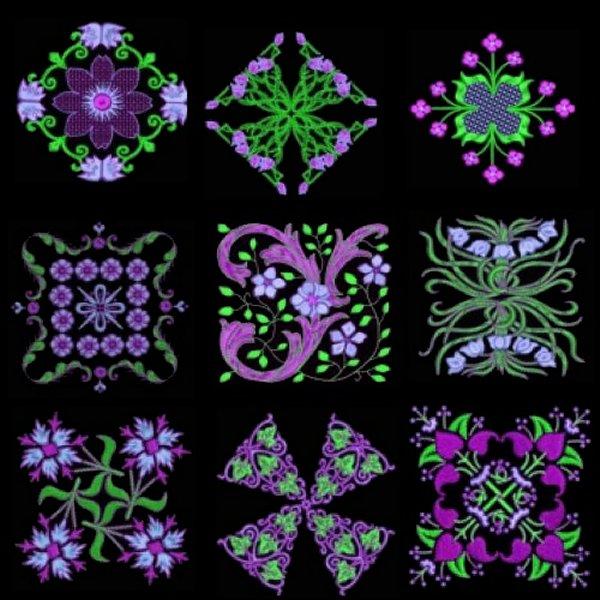 Anemone #3 designs on black background