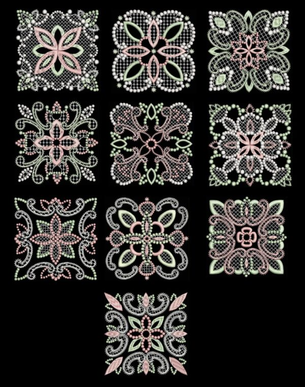 Candlewick & Satin 2 Quilt Blocks on Black background