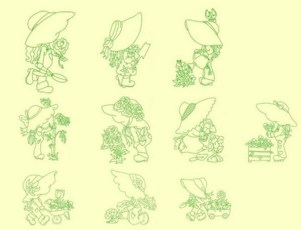 Gardening Sunbonnets Redwork & Trapunto designs