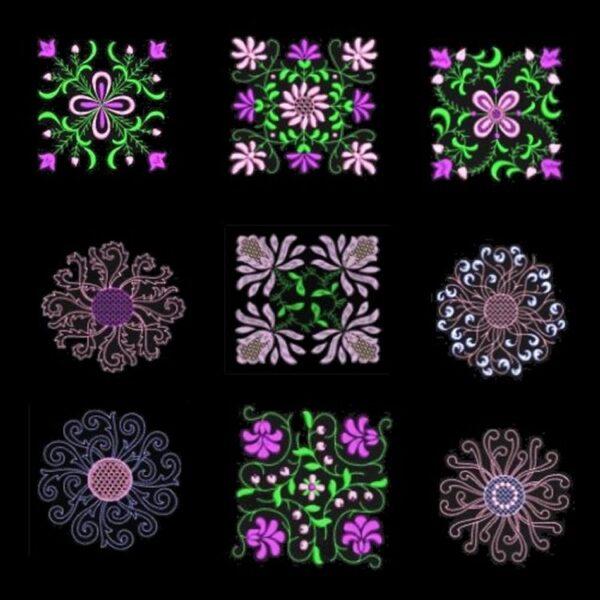 Anemone #1 Designs on black background