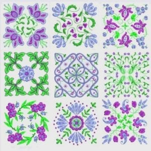 Anemone Quilt #2 Embroidery Designs for 6x6 hoop