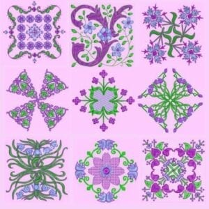Anemone Quilt #3 Embroidered Designs 4x4 hoop