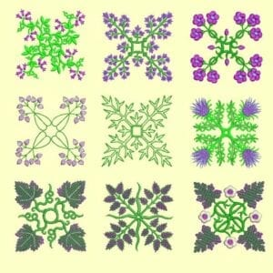 Anemone Quilt #6-9 Embroidery Designs for 6x6 hoop