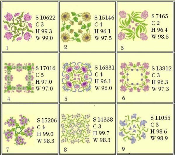 Anemone Quilt #4 4x4 Hoop Design info