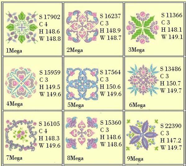 Design Info for Anemone Quilt #5 6x6 Hoop
