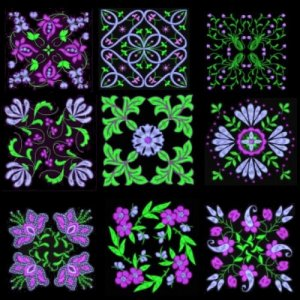 Anemone Quilt #2 on black background