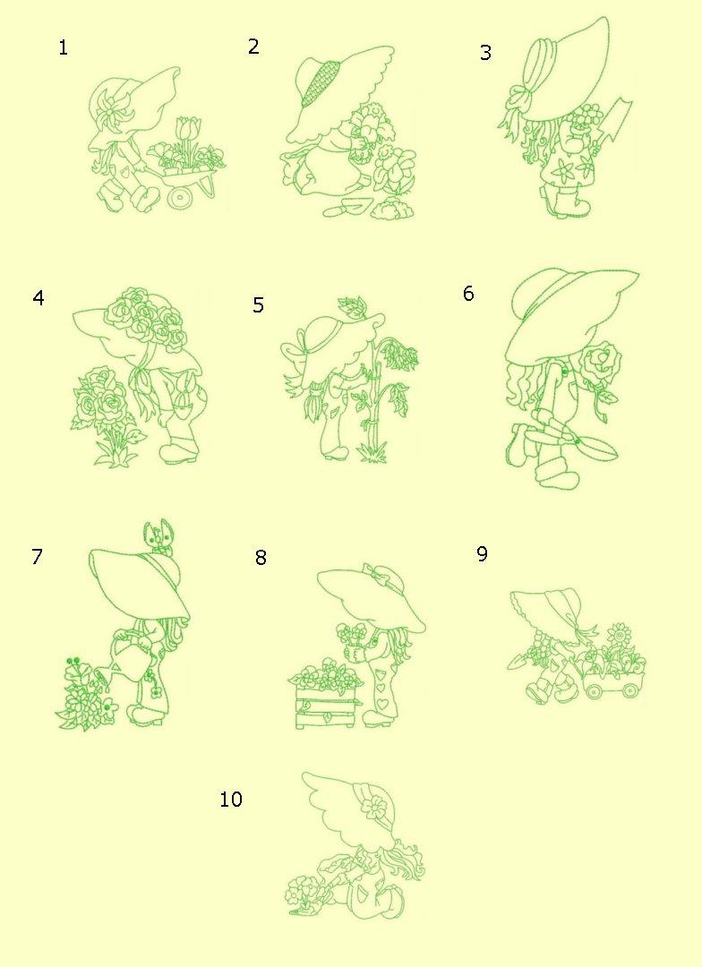 Gardening Sunbonnets RW ala carte singles