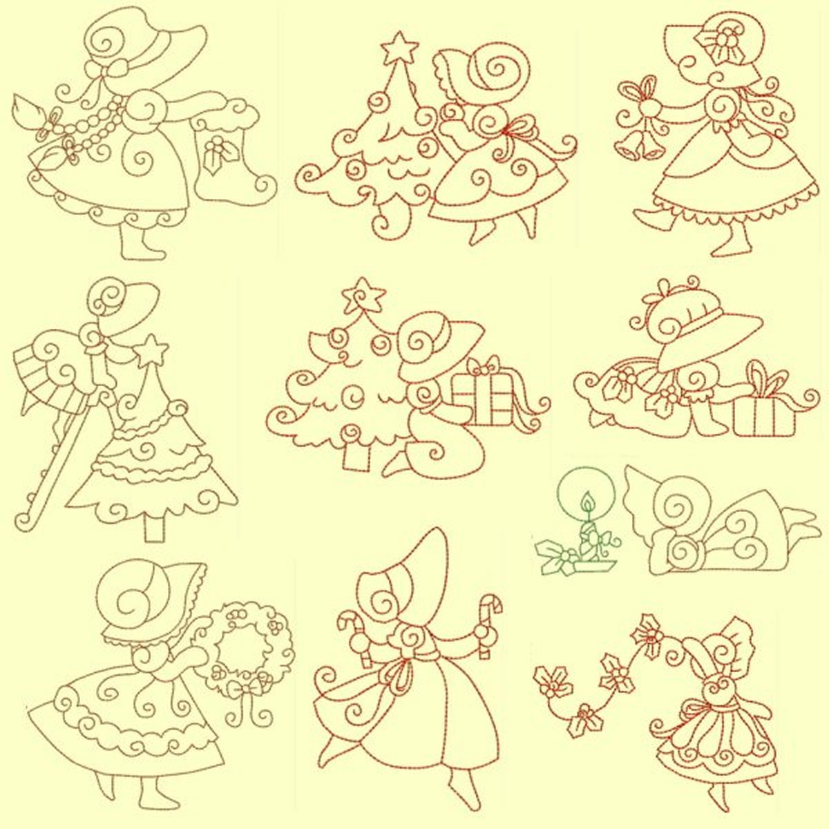 Christmas Sunbonnets RW and trapunto designs
