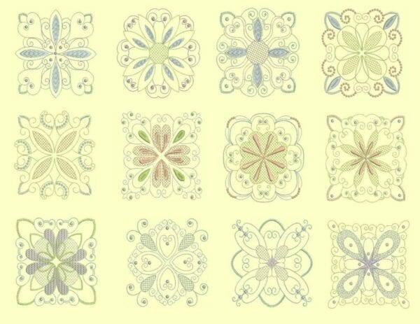 Candlewick & Satin 3 Heirloom Quilt Blocks