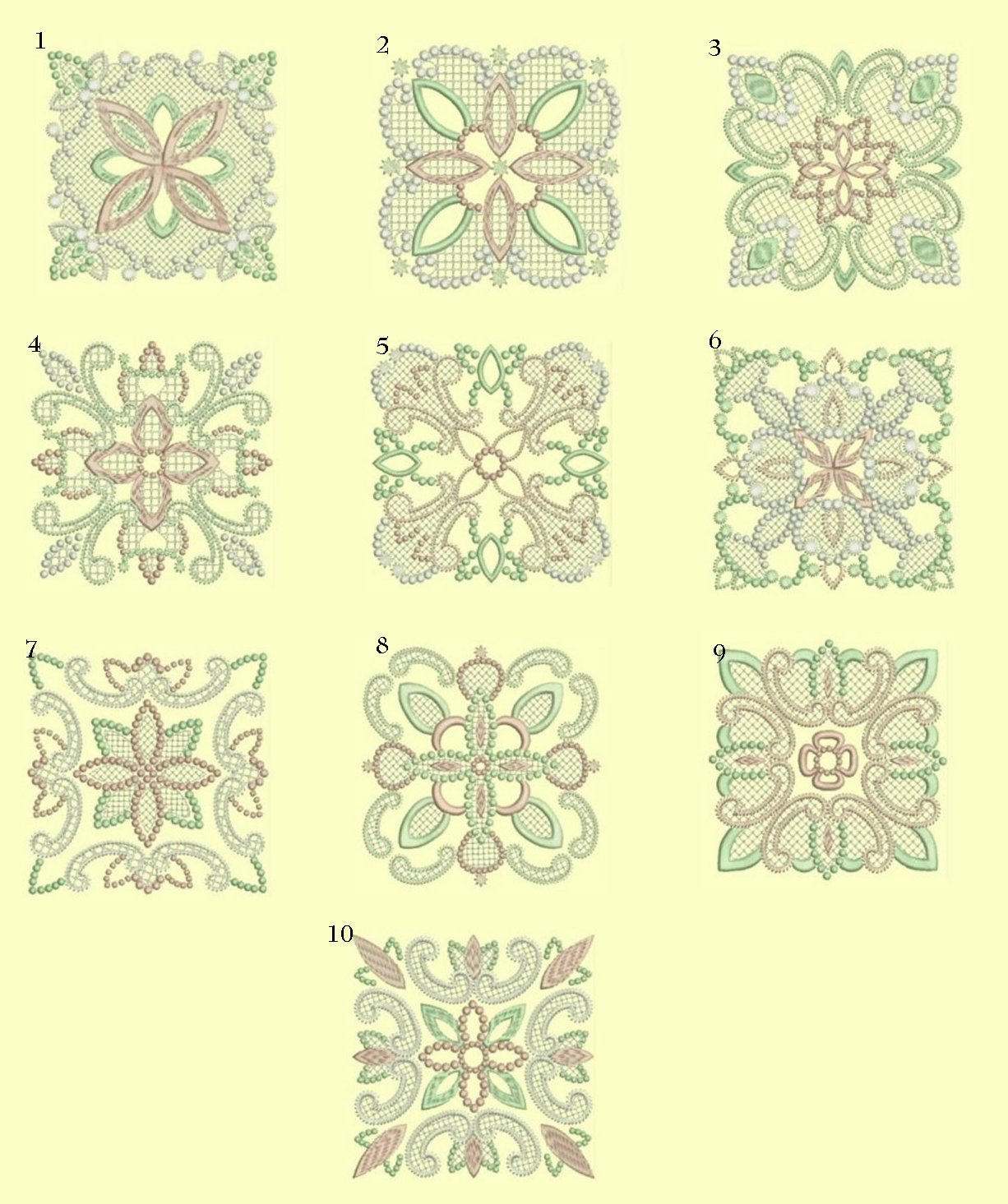 Candlewick & Satin 2 Quilt Blocks-ala carte single designs