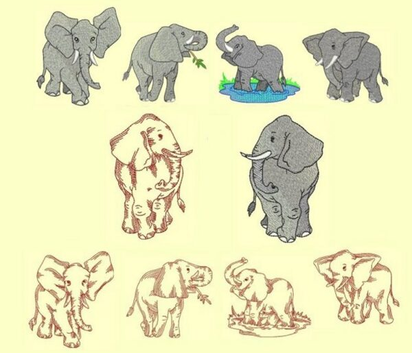 Elephant Machine Embroidery design set