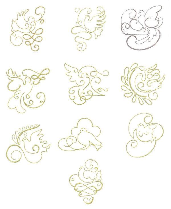 Gilded Doves Redwork & Trapunto designs
