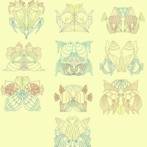 Kaleidoscopic Sea Life Linework designs