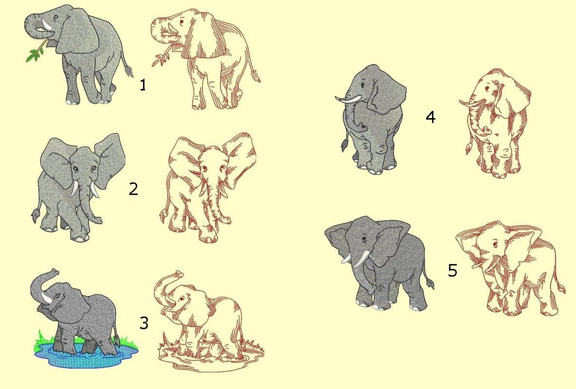 Elephants Machine Embroidery ala-carte singles designs